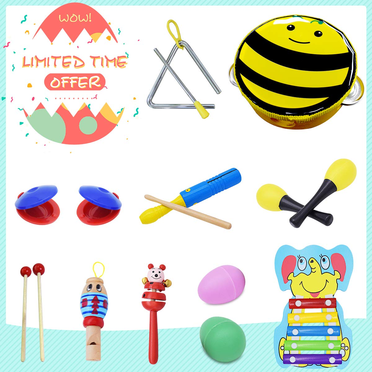 FRUITEAM Wooden Percussion Instruments Toy, Musical Instruments set, Rhythm Band Set Musical Toys for Baby, The most popular toy for children