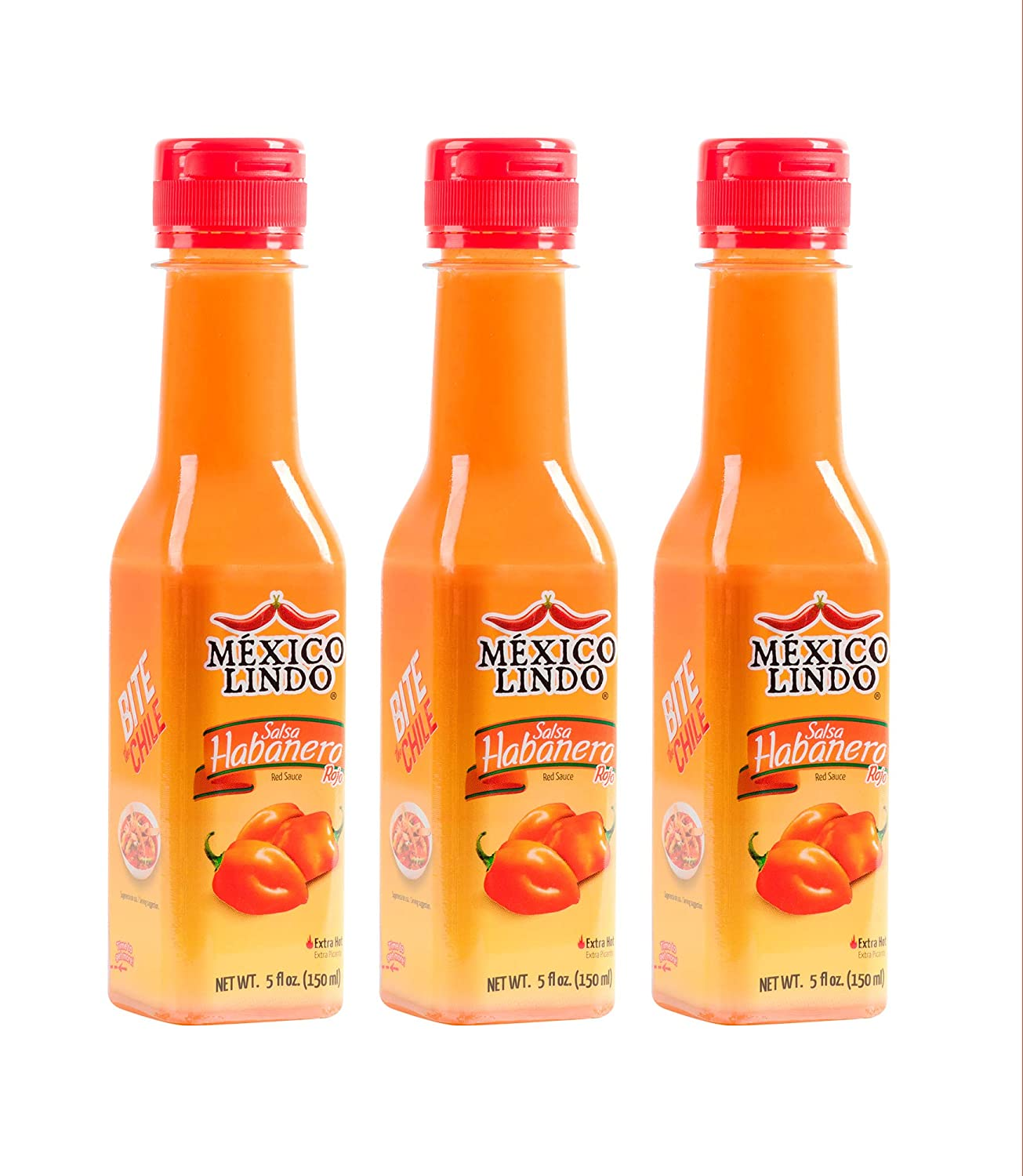 Mexico Lindo Red Habanero Hot Sauce | Real Red Habanero Chili Pepper | 78,200 Scoville Level | Enjoy with Mexican Food, Seafood & Pasta | 5 Fl Oz Bottles (Pack of 3)