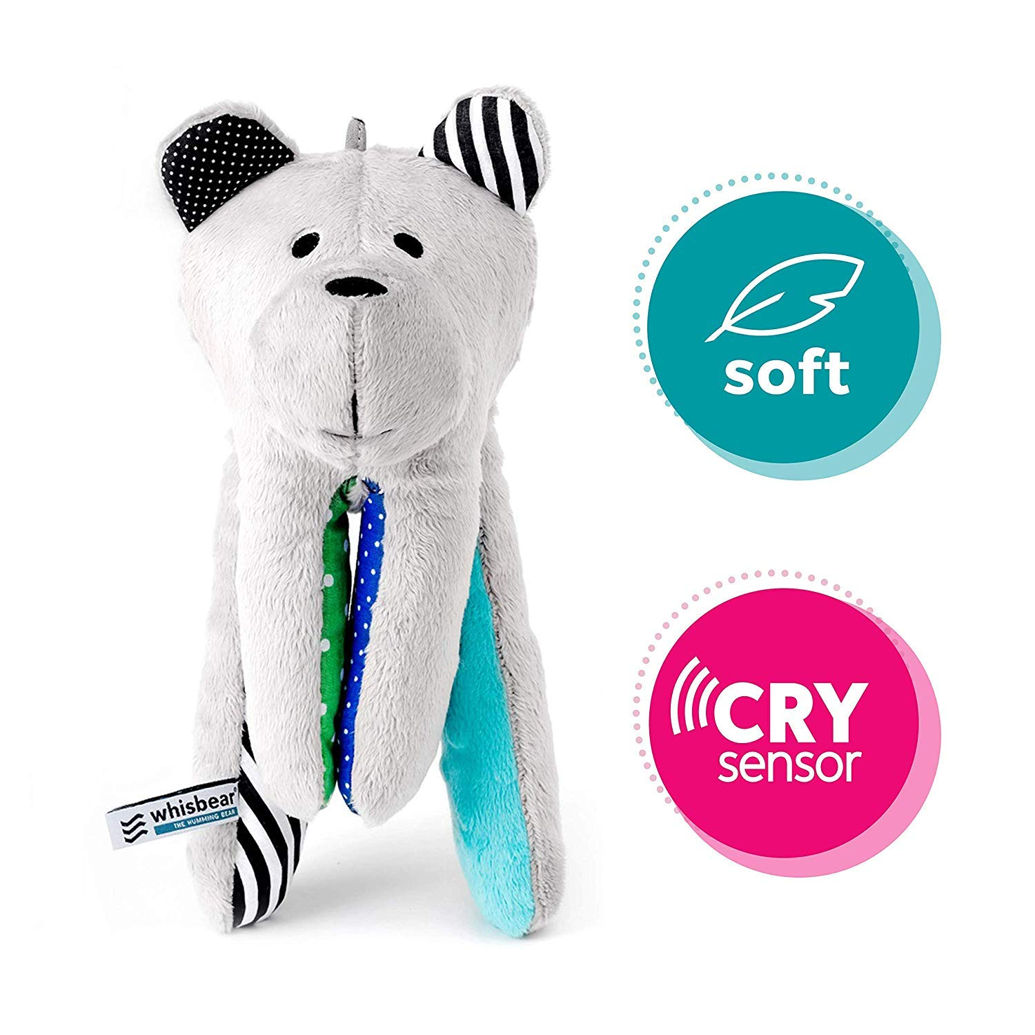 Helps Babies Fall Asleep with a Calming Sound Turquoise Safe Teddy Bear Whisbear The Humming Bear Sleep Soother Sensory Toy for Babies reacts to Babies/' Crying