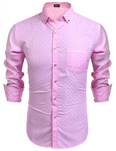 bd44e24f Modfine Men's Casual Slim Fit Button Down Plaid Dress Shirt (Pink,Small)