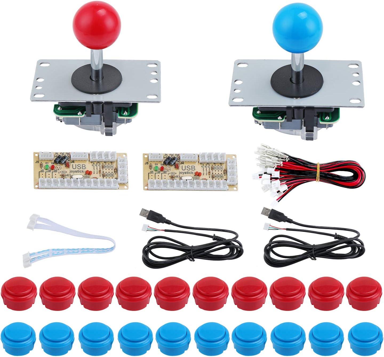 KEESIN 2 Arcade Jugadores Botones y Piezas de Joystick, Kit de Controlador de Juego de Bricolaje para Windows y Raspberry Pi