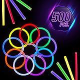 CoBeeGlow Glow in The Dark Bracelets - Glow Stick Bracelets Bulk - Extra Bright Party Favors - 8 Inch Bracelet - 9 Vibrant Neon Colors - Mix (500 Pieces)