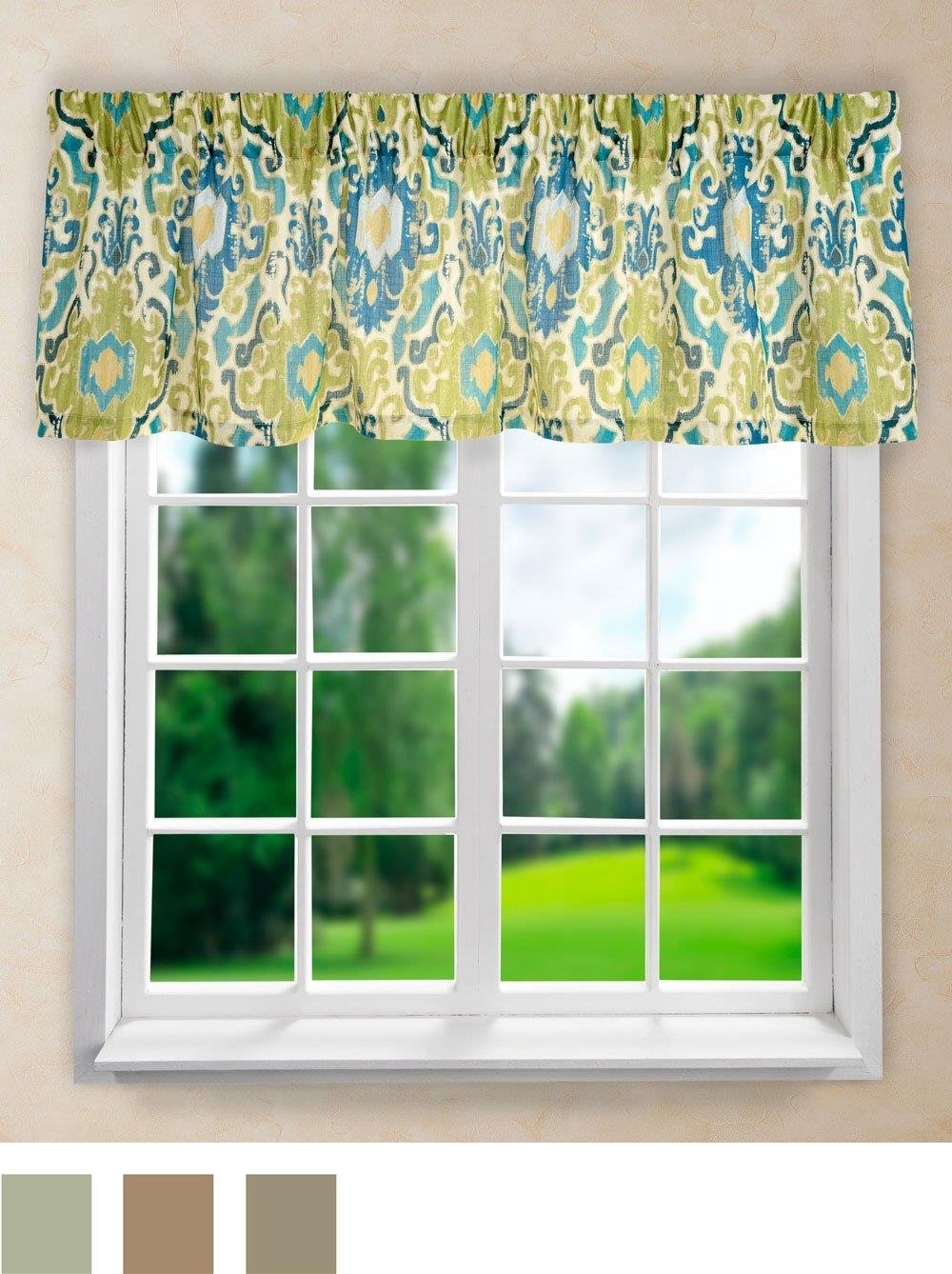 "Ellis Curtain Tuscany Tailored Valance, 70 x 15"", Blue"