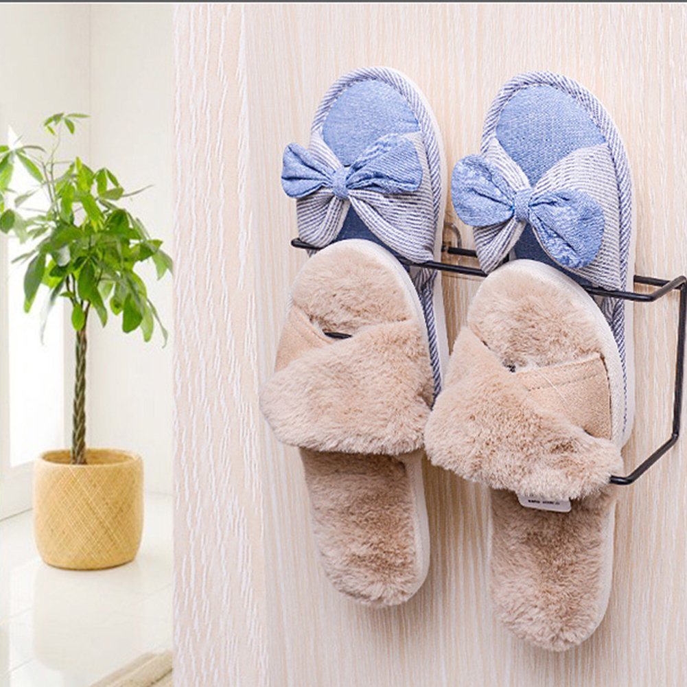 collectsound Wall Hanging Storage Rack Paste Household Shoes Slippers Suction Shelf Gift Black Double Layer