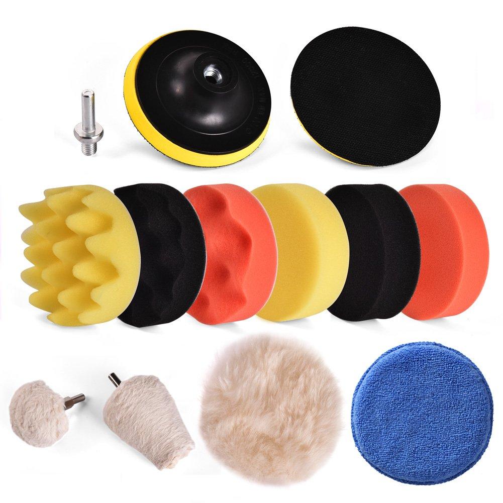 Starcrafter 11PCS Esponja Pulido Pad Kit Pulir Encerar Espuma Coche de pulido Pad con soporte de esponja almohadillas