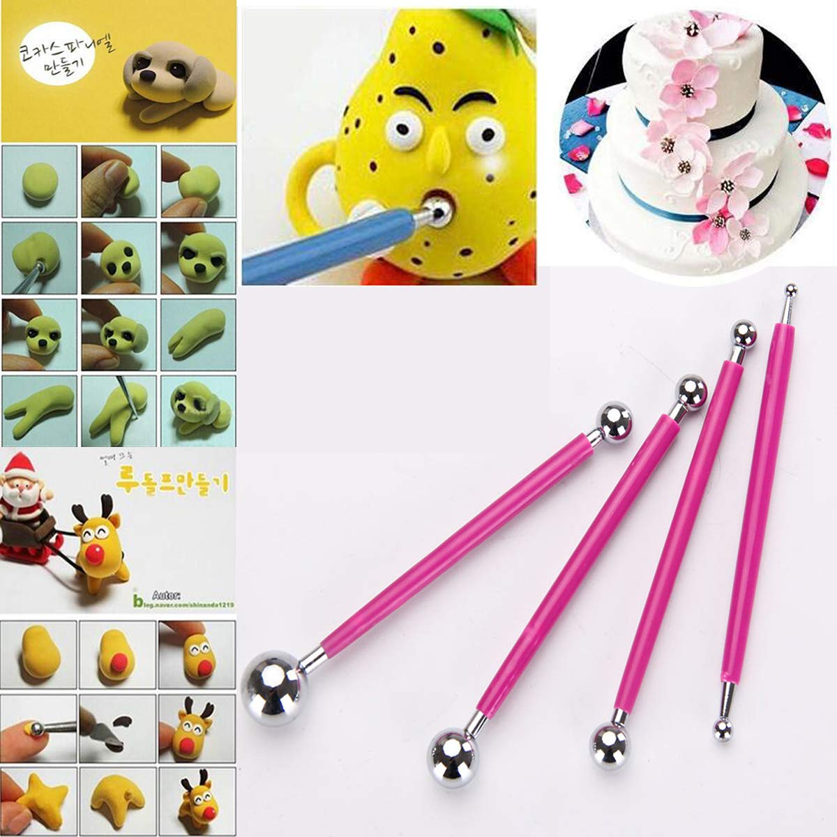 4PCS Set Ball Sphere Stylus Clay Pottery Ceramics Doll Sculpting Modeling Tools Double-Ended Metal Ball Cake Decoration Tools