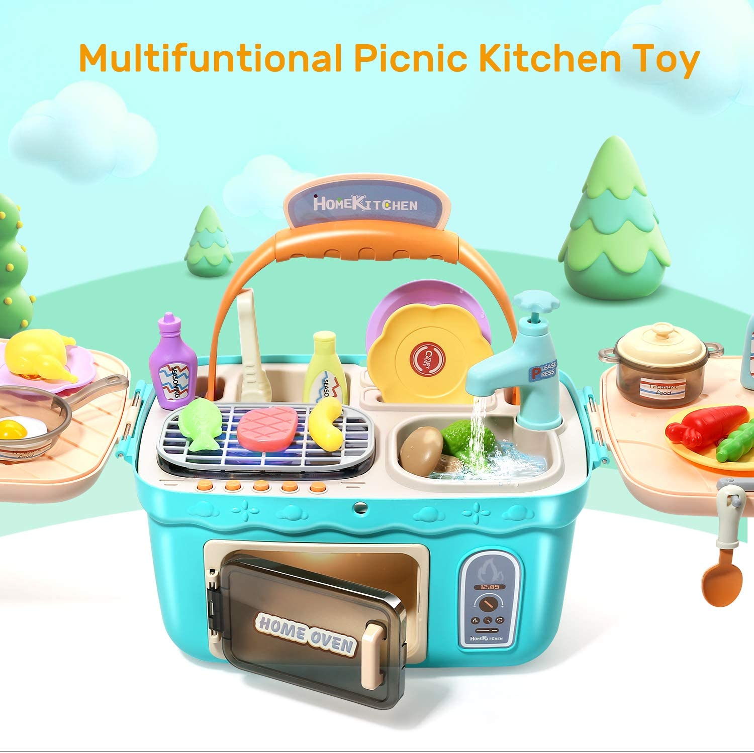 CUTE STONE Kids Play Kitchen Picnic Playset,Portable Picnic Basket Toys with Musics /& Lights,Color Changing Play Food,Kitchen Sink Toys and Pretend Play Oven,Kitchen Toy Sets Gift for Kids Boys Girls