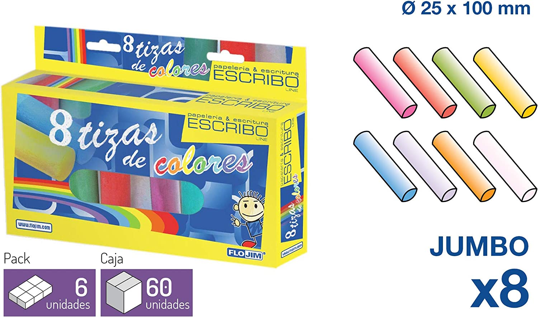 8 Tizas de Colores Gordas Jumbo - Colores Surtidos - No Tóxicas - Ø 25 Mm. X 10 cm - 3 Paquetes de 8 Unidades.: Amazon.es: Oficina y papelería