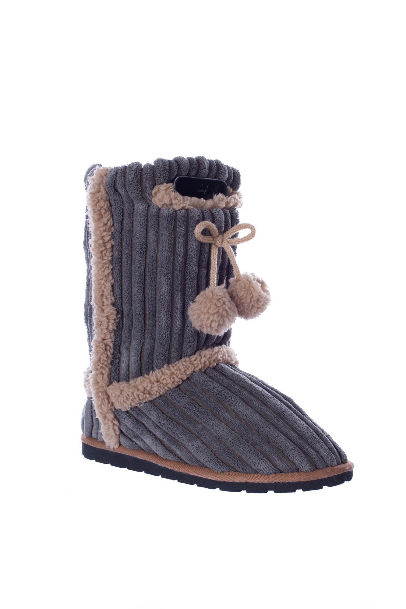 Outdoor Fuzzy Slipper Socks Boot Hard Bottom Phone Pocket CGrey Cord Large