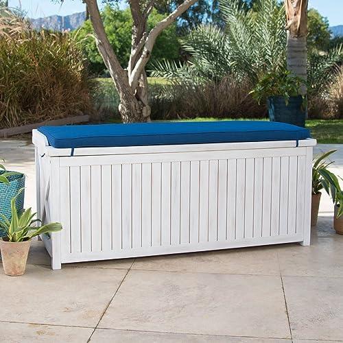 Home Improvements Coastal White Wash Finish Eucalyptus Wood Deck Storage Box Patio Storage Bench With Blue Cushion Outdoor Storage