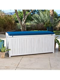 Home Improvements Coastal White Wash Finish Eucalyptus Wood Deck Storage  Box Patio Storage Bench With Blue