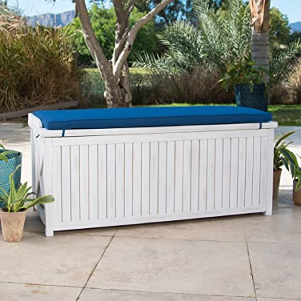 coastal white wash finish eucalyptus wood deck storage box patio storage bench with blue cushion outdoor - Patio Storage Box