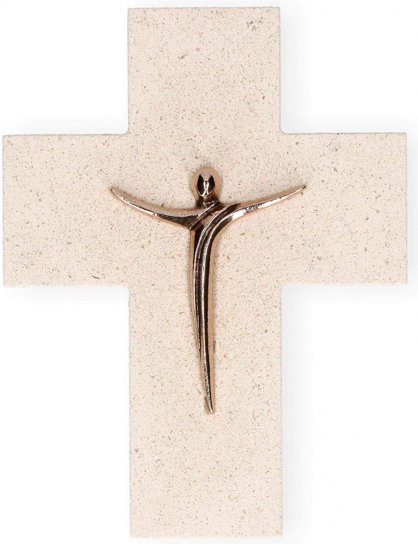 Wandkreuz Naturstein Korpus Jesus Bronze Kreuz 17 cm Kruzifix Unikat modern NEU