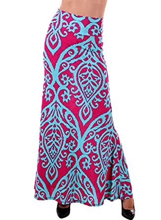 4af6b66365 AlvaQ Women Summer Coral Print Long Maxi Skirt (8 Colors and Design Print)  - Red -: Amazon.co.uk: Clothing