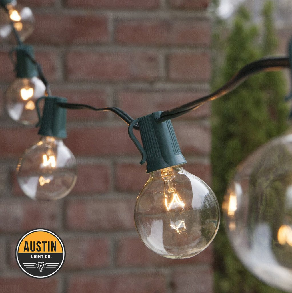 String light company incandescent light bulb pack of 25 - Amazon Com 25 Foot G40 Globe String Lights With Bulbs Green Wire By Austin Light Co Ul Listed Indoor And Outdoor Great For Patios Caf S