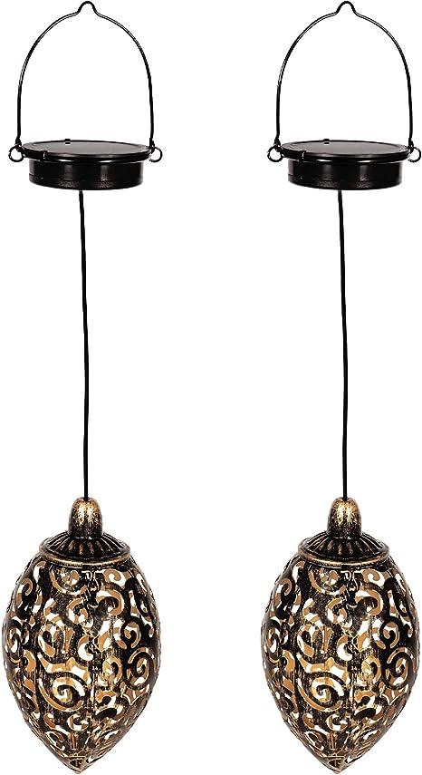 Gadgy Set de 2 Farolillos solares | para decoracion jardin exterior | Lampara marroqui con efecto de sombra | Adornos impermeable para colgar: Amazon.es: Iluminación