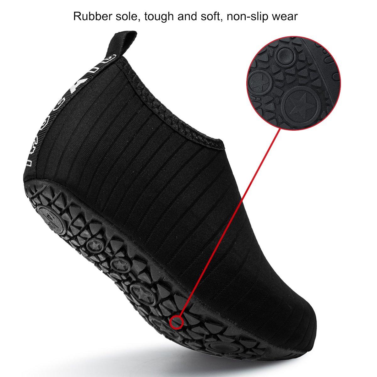 JIASUQI Mens Athletic Beach Walking Sandals Water Skin Shoes Black US 7.5-8.5 Women, 6.5-7.5 Men by JIASUQI (Image #5)