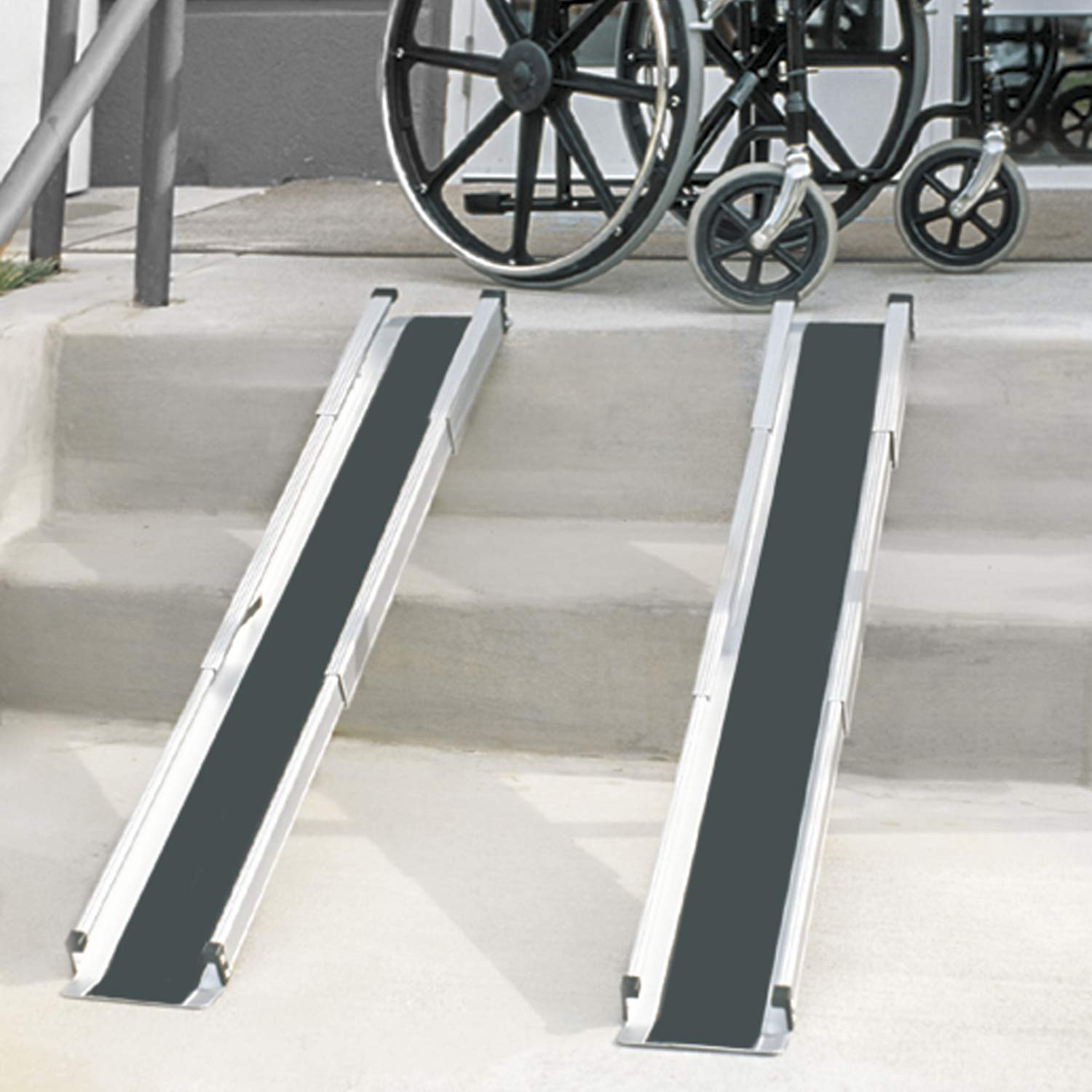 DMI Portable Wheelchair Ramp for Home, Van, Steps, Adjustable Telescoping Retractable Lightweight Wheelchair Ramp with Cover, Adjustable Length from 3 to 5 Feet, 4.5 Inch Inside Width