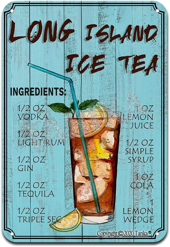 Long Island Ice Tea Cocktail Ingredients Iron Poster Painting Tin Sign Vintage Wall Decor for Cafe Bar Pub Home Beer Decoration Crafts