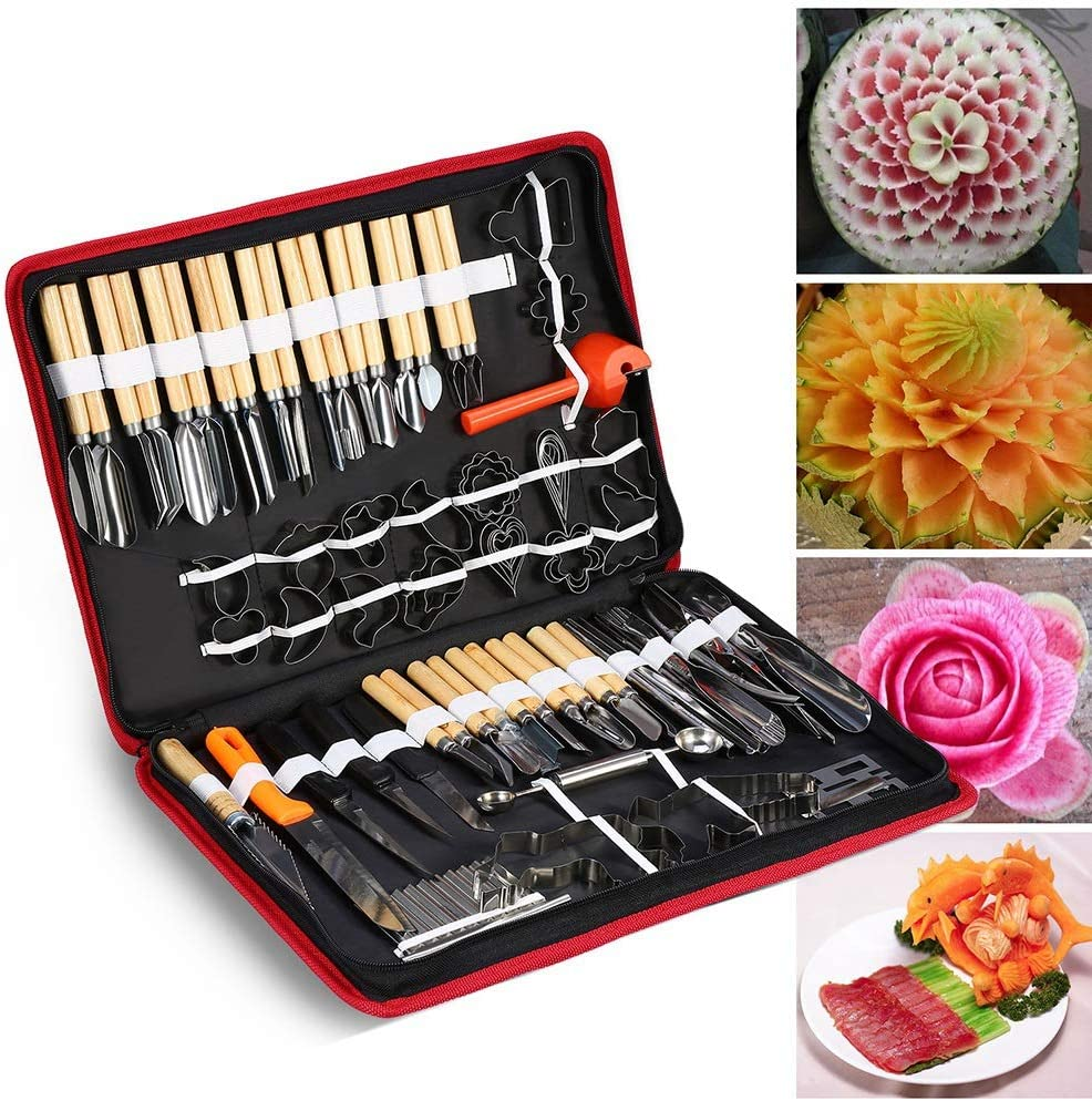 Culinary Carving Tool Kit, 80PCS/Set Chrome steel Culinary Carving Peeling Tools Kit For Fruit Vegetable Garnishing Carving Slicing including Carry Bag Halloween Pumpkin Carving Kit