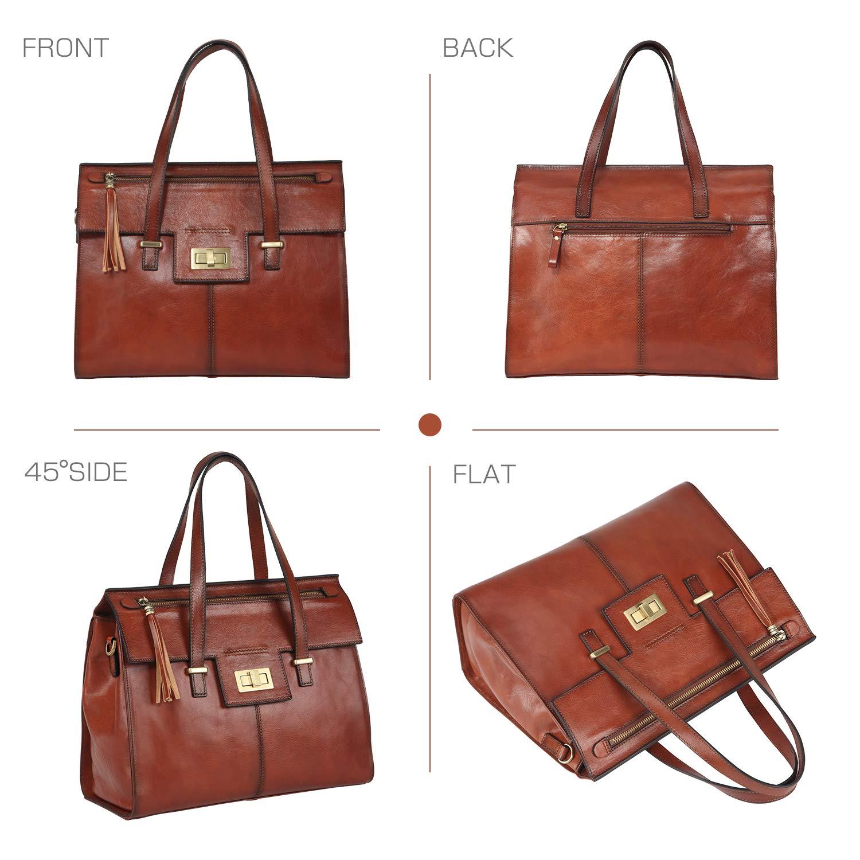 Banuce Vintage Full Grain Real Leather Handbags for Women Tassel Ladies  Tote Satchel Messenger Shoulder Bag Purse Brown  Handbags  Amazon.com 7634f0bab2bad