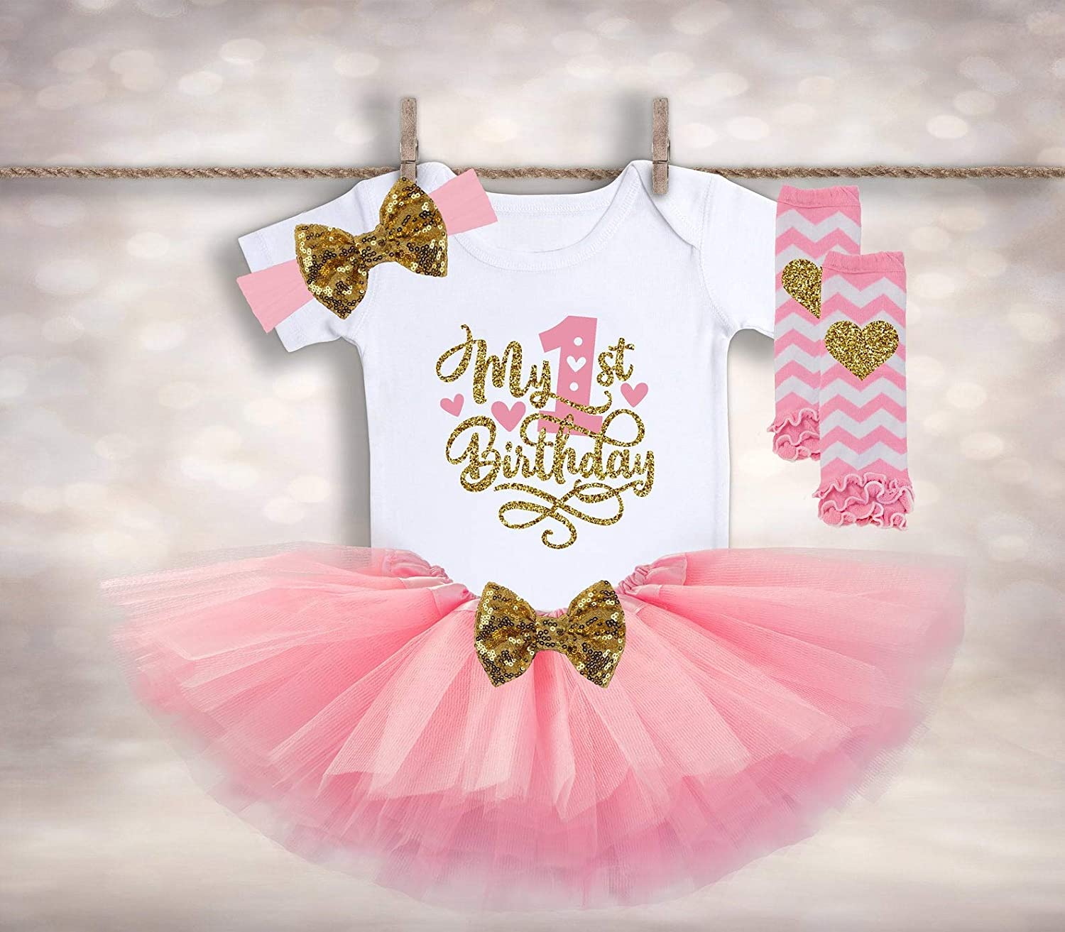 Amazon Com Baby Girl 1st Birthday My First Birthday Girl Outfit