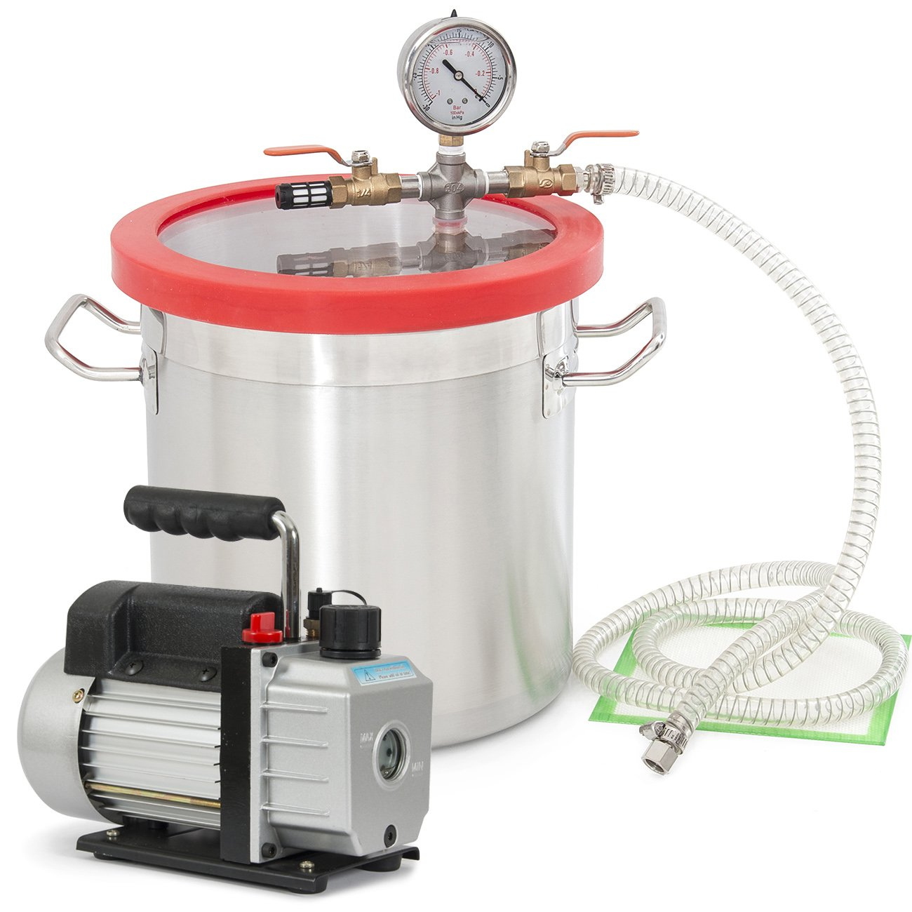 ARKSEN Vacuum Chamber (2 Gallon) Silicone Expoxy Degassing and 4CFM Vacuum 1/3HP Pump by ARKSEN