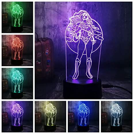1 Pack New Night Light Cool For Wonder Woman Dc Super Hero 3d Led