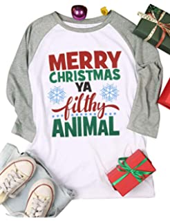 be20e5fd5 Nlife Women Merry Christmas Ya Filthy Animal Letter Blouse Long Sleeve Shirt  Color Block Casual Blouse