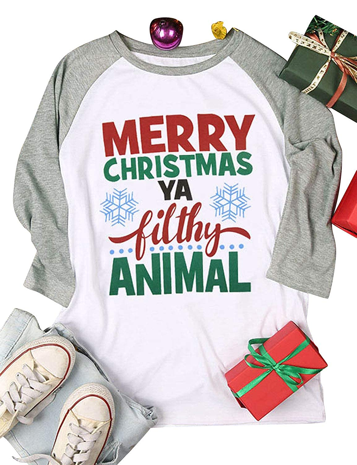 18d0155a8 Nlife Women Merry Christmas Ya Filthy Animal Letter Blouse Long Sleeve Shirt  Color Block Casual Blouse at Amazon Women's Clothing store: