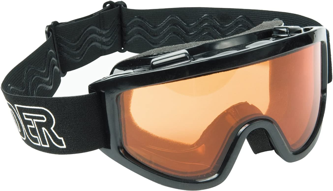 Raider 26-001-D Dual Impact-Resistant Adult MX Off-Road Goggles, Black Frame Amber Lens
