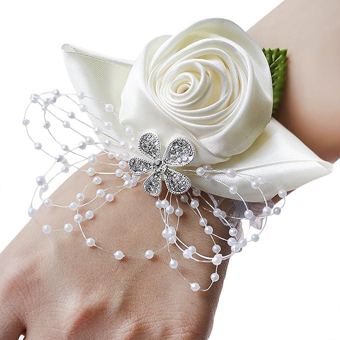 Ysxy Damen Braut Blumen Armband Handgelenk Blumen Band Elastische