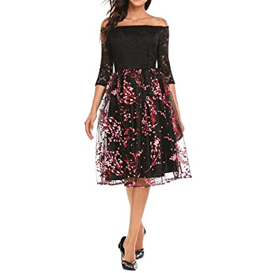 Zcaosma Women Vintage A-Line Dress Sexy Off Shoulder Floral Lace Mesh Patchwork Midi Dresses