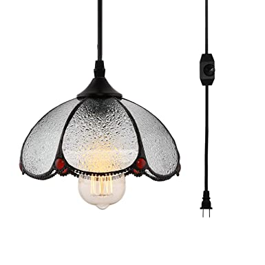 HMVPL Tiffany Style Pendent Ceiling Light with 16.4 Ft Plug in Cord and On Off Dimmer Switch, Vintage Dome Shaped Swag Hanging Lamp for Kitchen Island, Dining Room or Living Room 8.3 Width