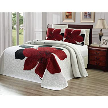 3-Piece Fine printed Oversize (115  X 95 ) Quilt Set Reversible Bedspread Coverlet KING / CAL KING SIZE Bed Cover (Burgundy Red, Black, White, Floral)