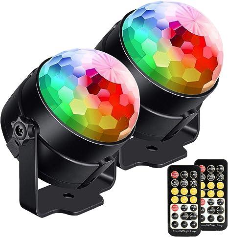 Disco Light Suitable for Family Children Birthday Wedding Club Bar. USB Cable and RGB Strobe Light DJ Light Rotating Mirror Ball
