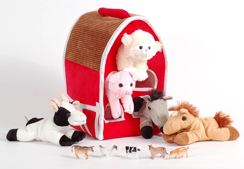 Amazon Com Unipak 12 Plush Red Barn Playset With 5 Stuffed Farm Animals Lamb Pig Cow Gray Horse And Brown Horse And 5 Bonus Farm Animal Figures Toys Games