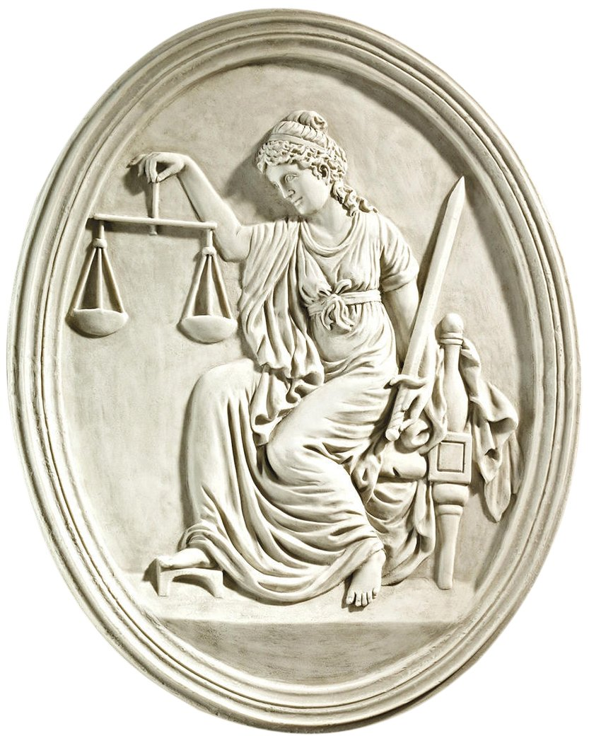 Design Toscano Lady Justice Wandskulptur vom Old Bailey Courthouse