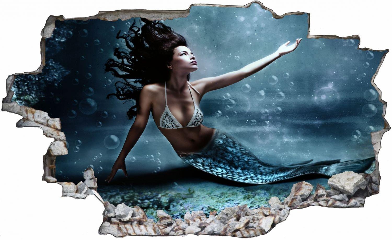 Meerjungfrau Fabelwesen Wandtattoo Wandsticker Wandaufkleber C0743