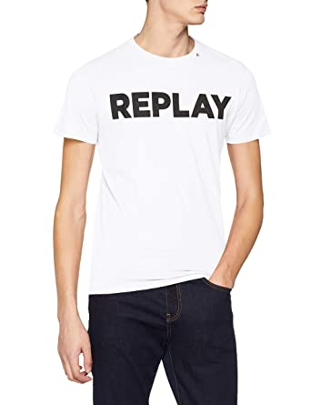 02f534f94a0a Amazon.com: Replay Bold Logo Crew-Neck Men's T-Shirt, White: Clothing