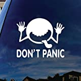"SoCoolDesign Don't Panic Galaxy Car Window Vinyl Decal Sticker 6"" Wide (White)"