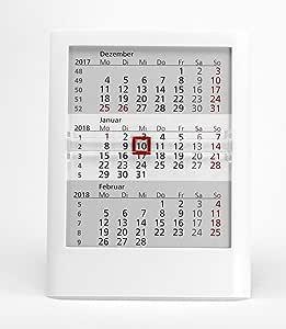 HiCuCo - Calendario de mesa de 3 meses para 2 años (2017 y 2018), calendario con función de atril, color blanco: Amazon.es: Oficina y papelería