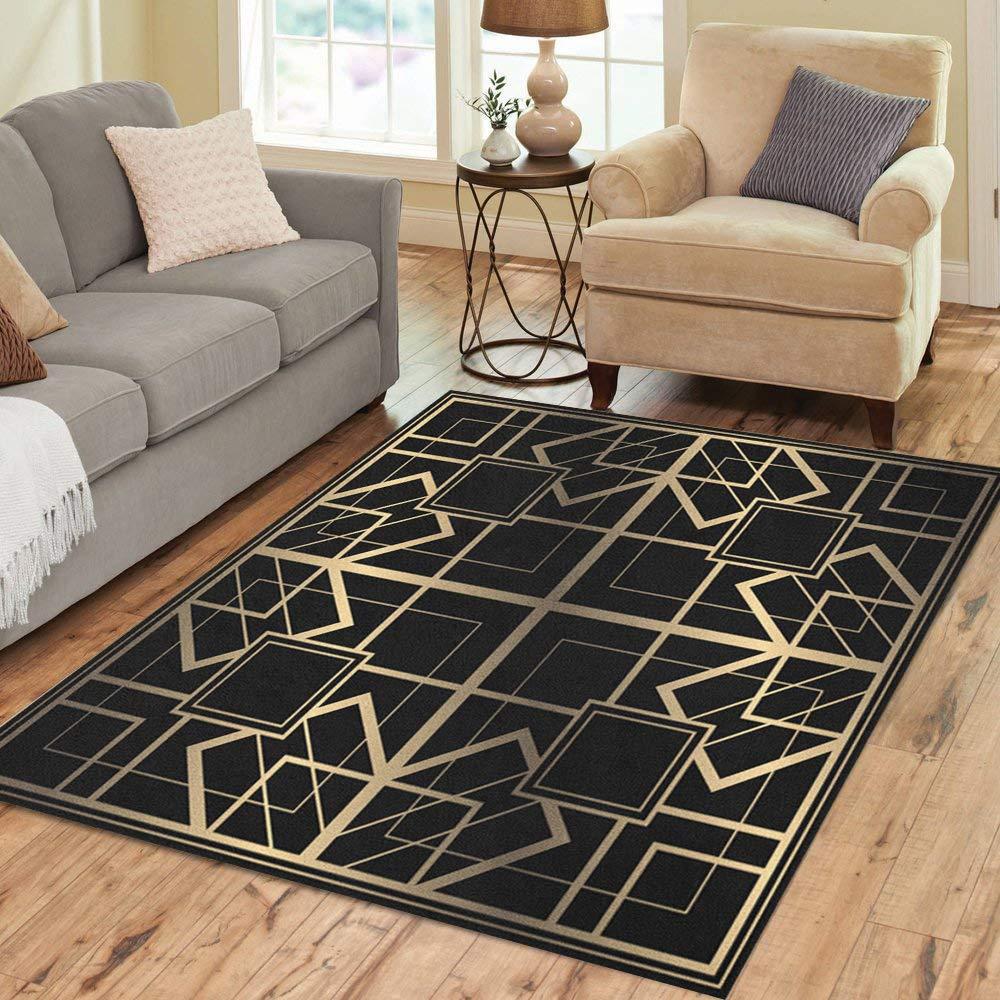 Pinbeam Area Rug Geometric in Tiled Light Golden Lined Shape Luxury Home Decor Floor Rug 5' x 7' Carpet