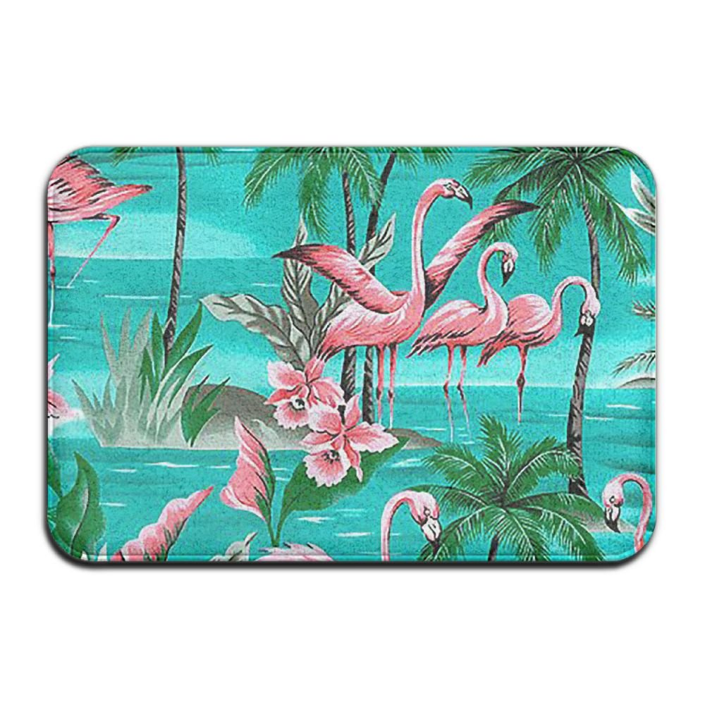 BINGO BAG Flamingo Party Paradise Island Indoor Outdoor Entrance Printed Rug Floor Mats Shoe Scraper Doormat For Bathroom, Kitchen, Balcony, Etc 16 X 24 Inch by BINGO BAG