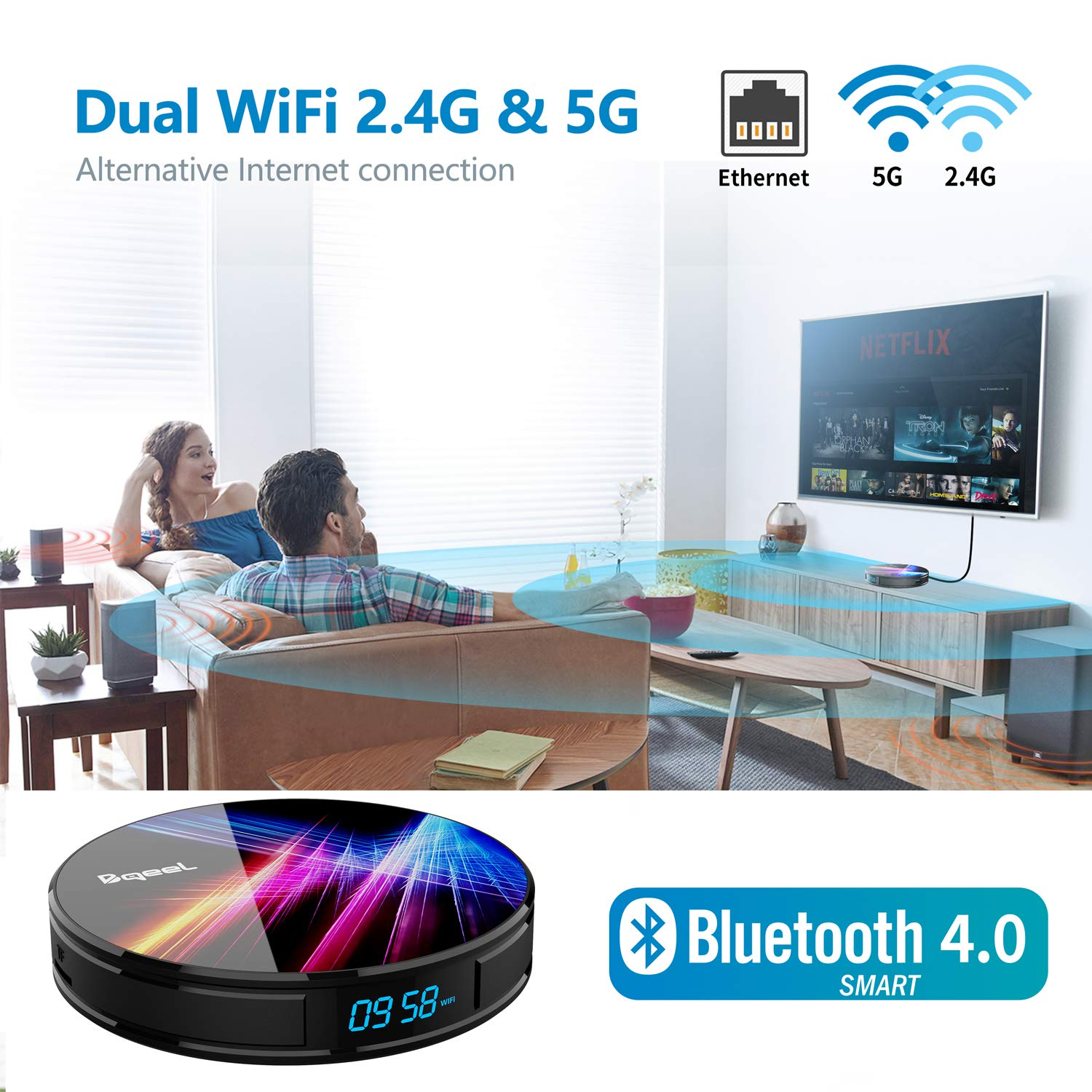 Dual WIFI 2.4//5G Bqeel Android 9.0 TV Box R1 Pro 100M LAN 4G DDR3+32G EMMC// RK3318 Quad-Core 64bit TV box android Bluetooth 4.0//USB 3.0// 3D 4K Android TV