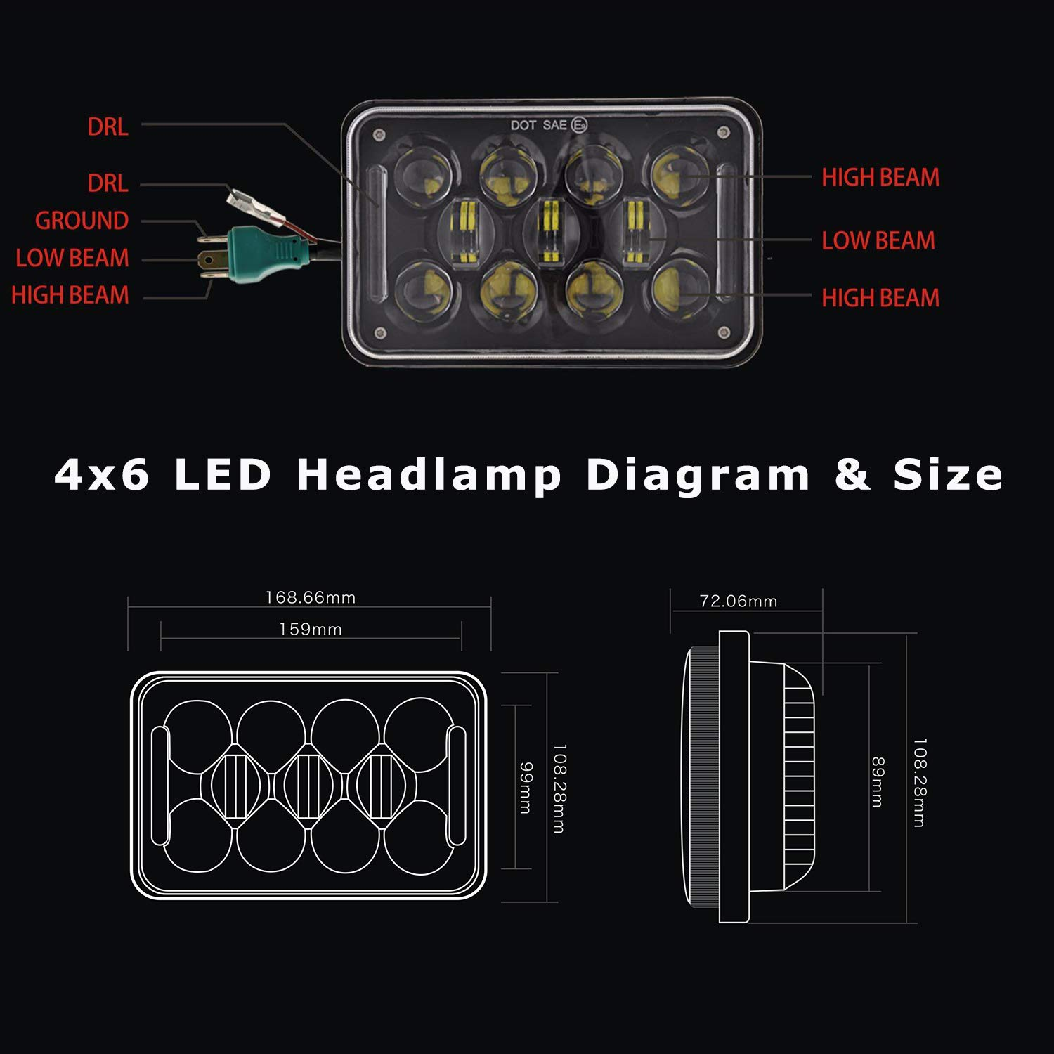New Osram 4x6 Inch 60w Led Headlights Rectangular Wiring Diagram Free Download Schematic Replacement H4651 H4652 H4656 H4666 H6545 With Drl For Peterbil Kenworth Freightinger Ford