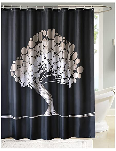 LanMeng Fabric Shower Curtain Tree Of Life Lucky And Wealth Black White Beige Gray