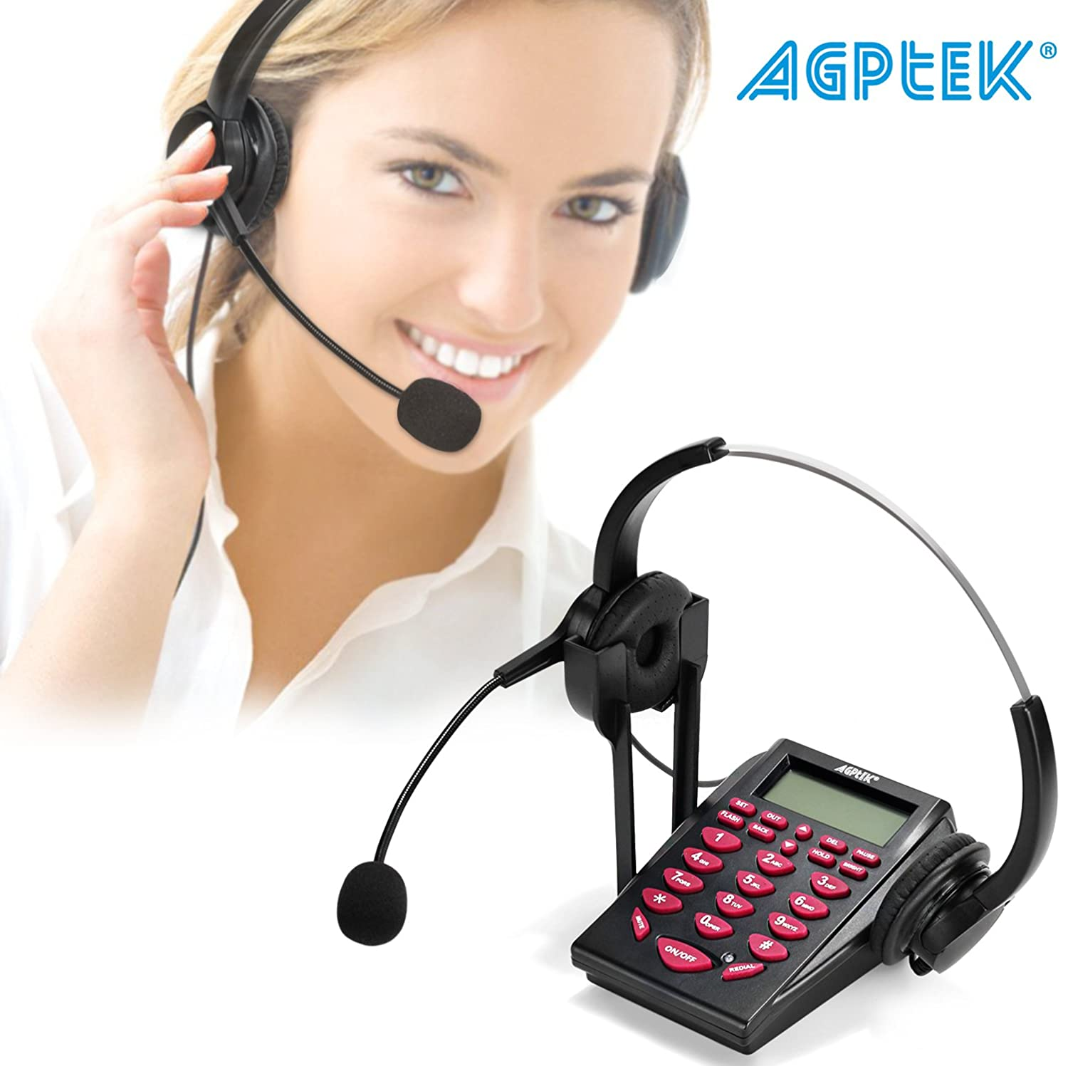 AGPtek Hands-free Call Center Noise Cancellation Corded Binaural Headset Telephone, with Backlight Tone Dial Key Pad & REDIAL + Desk Phone Headphones PC Recording Function for Telephone Counseling Services, Insurance, Hospitals,Banks,Telecom Operators,