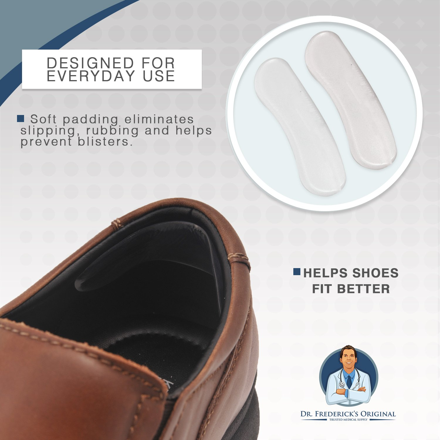 Dr. Frederick's Original Protective & Flexible Heel Grips Set - 10 Pieces - Adhesive Gel Heel Protectors to Prevent Blisters & Cuts - Heel Cushion Set for High Heels, Dress Shoes, Slip-Ons, and More by Dr. Frederick's Original (Image #6)