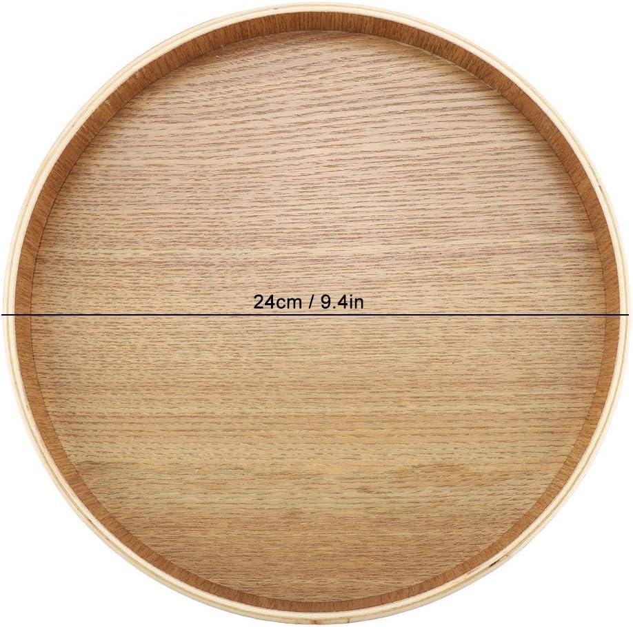 set da t/è 24 centimetri Piatto da portata in legno vassoio da t/è rotondo in legno di alta qualit/à per frutta ecc frutta